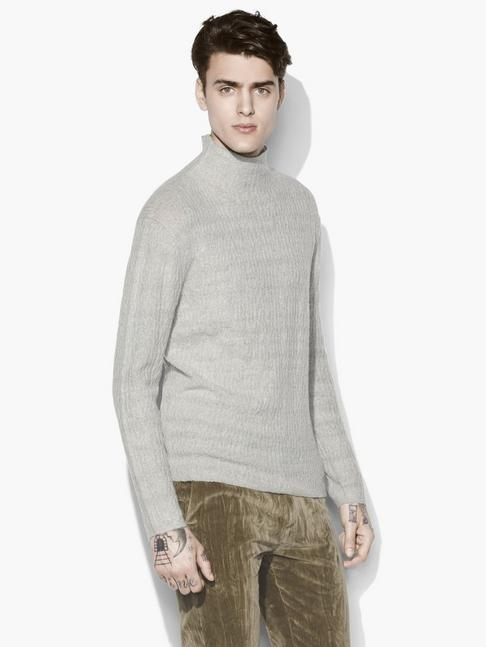 MOCK NECK CABLE SWEATER