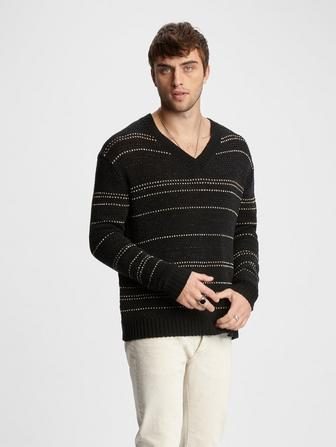 JACQUARD STRIPE V-NECK SWEATER