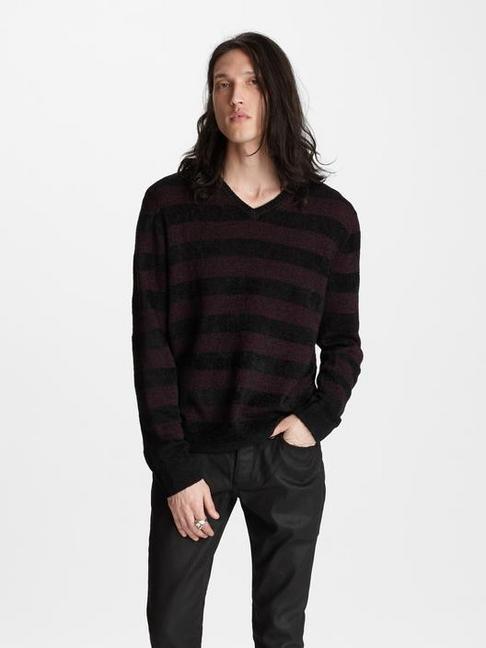 Chevron Stitch V Neck Sweater by John Varvatos