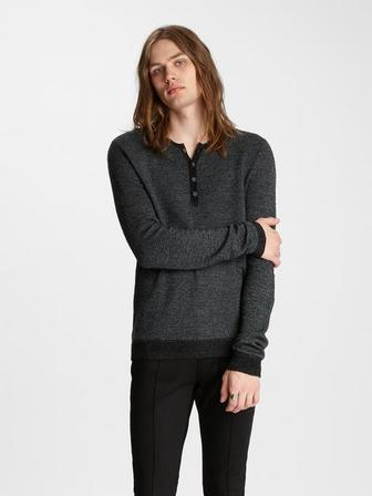 SLIM FIT SHEVRON STITCH HENLEY