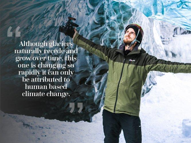 Dan stood in ice cave with camera