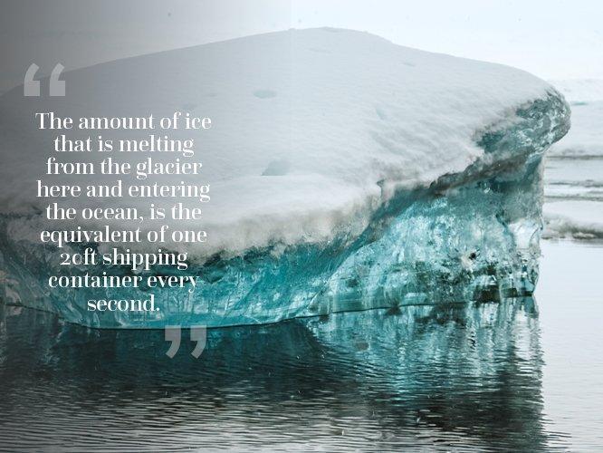 Melting iceberg on lake