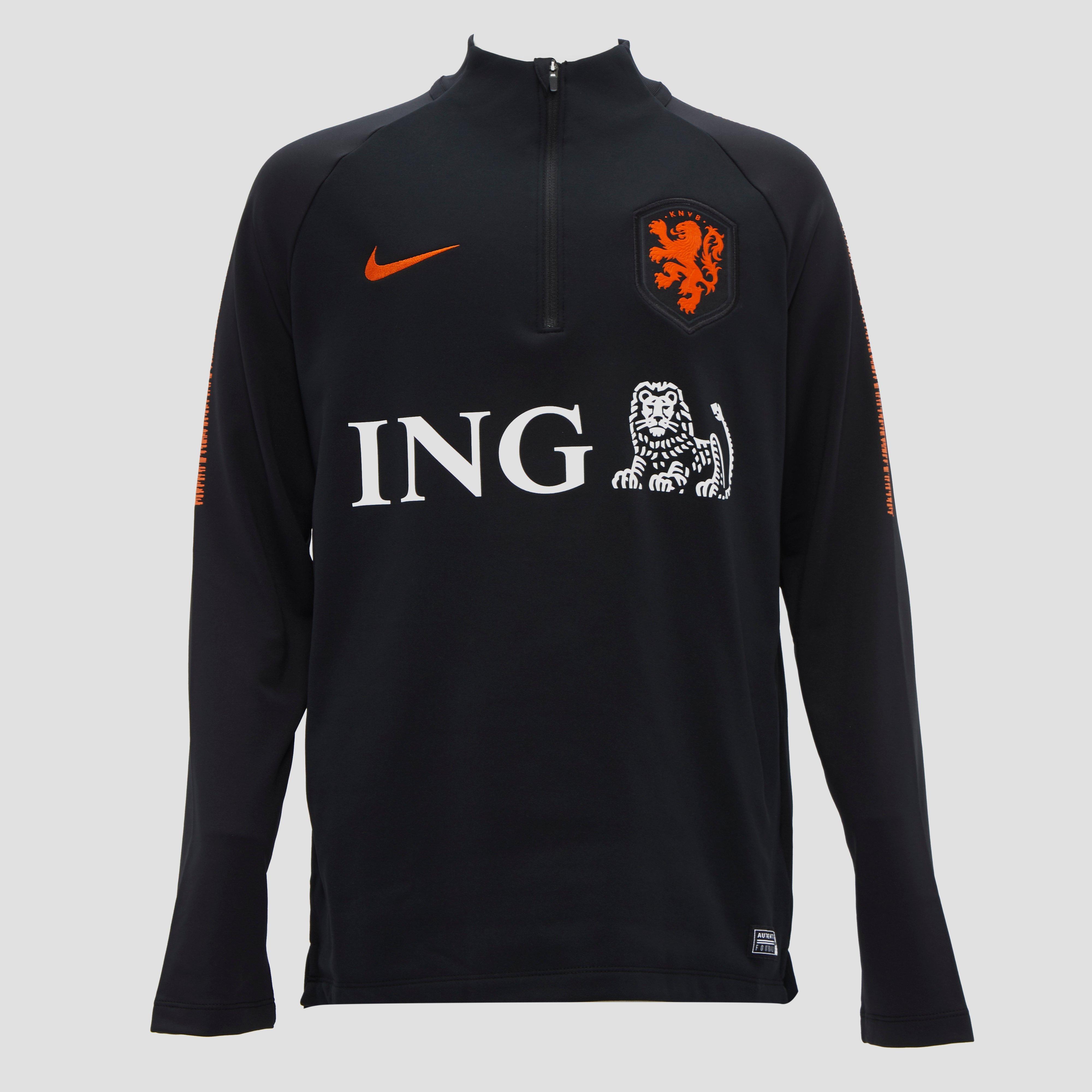 NIKE KNVB DRY SQUAD NL VOETBALTOP ZWART/ORANJE KINDEREN