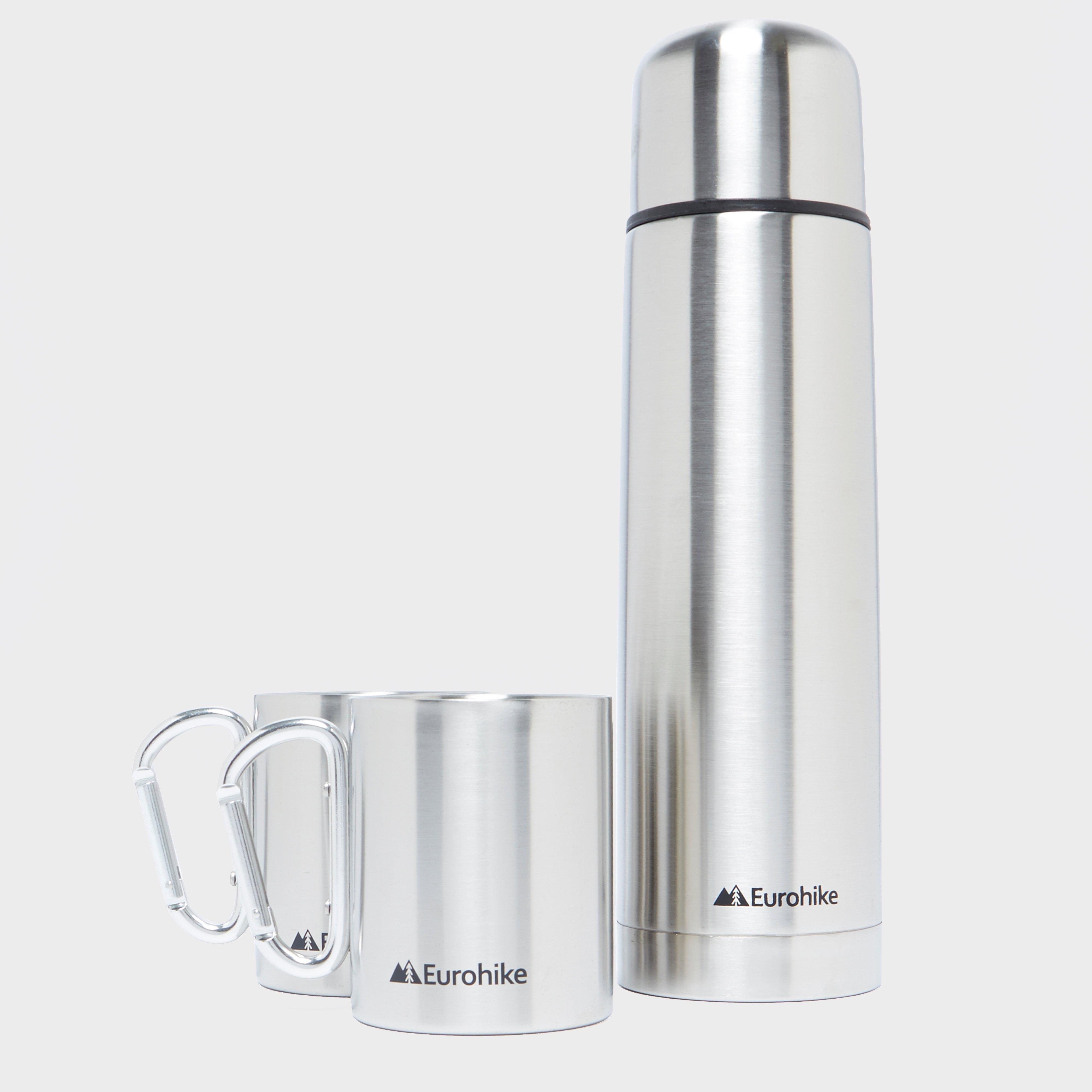Eurohike Eurohike 750ml Flask + 2 Karabiner Mugs - Silver, Silver