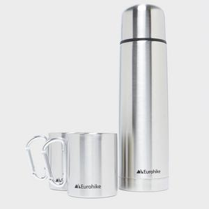 EUROHIKE 750ml Flask + 2 Karabiner Mugs
