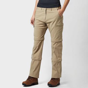 Beige Peter Storm Women's Stretch Double Zip Off Trousers - Long