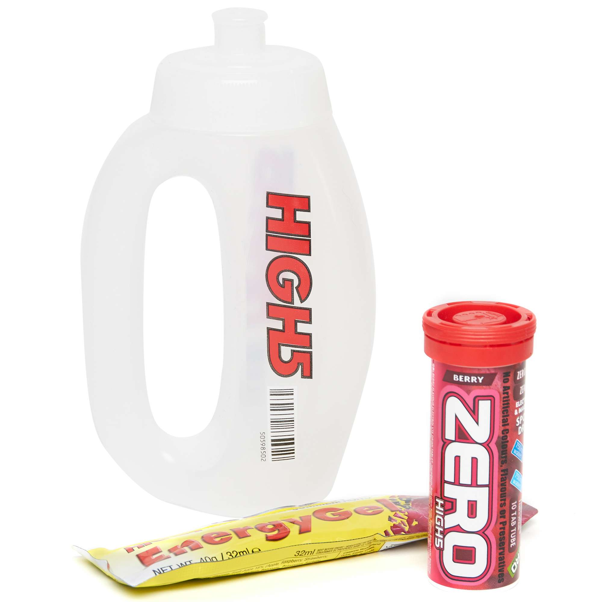 HIGH 5 Run Bottle, Zero 10 Berry Hydration Tube and Citrus Energy Gel