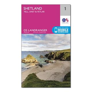 Landranger 1 Shetland  Yell, Unst and Fetlar Map With Digital Version