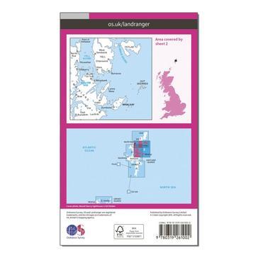 Orange Ordnance Survey Landranger 2 Shetland  Sullom Voe & Whalsay Map With Digital Version