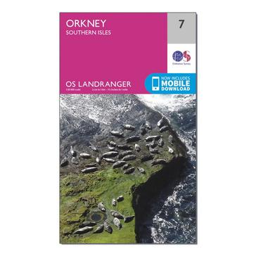 Orange Ordnance Survey Landranger 7 Orkney Southern Isles Map With Digital Version