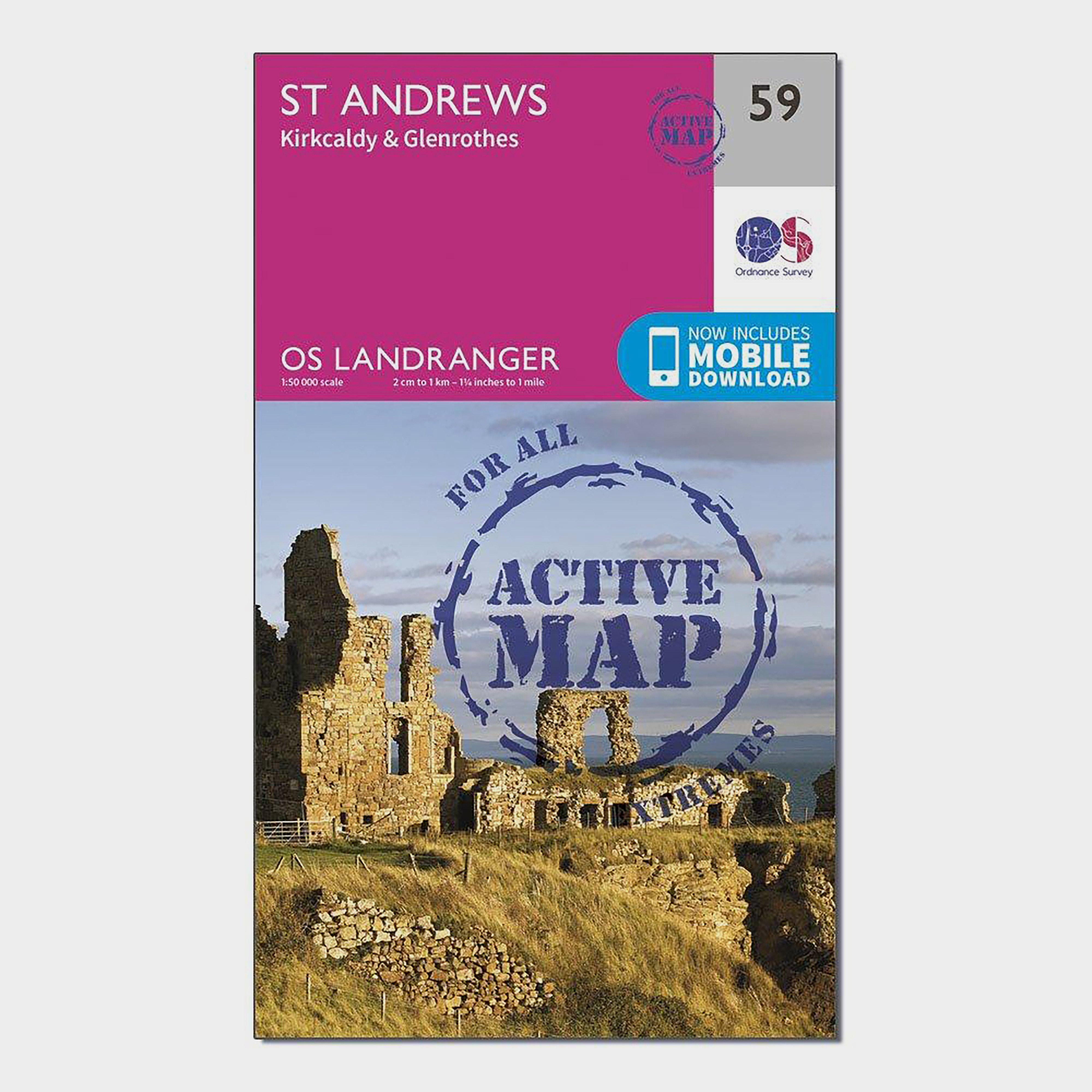 Ordnance Survey Ordnance Survey Landranger Active 59 St Andrews, Kirkcaldy & Glenrothes Map With Digital Version - Orange, Orange