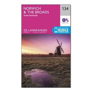 ORDNANCE SURVEY Landranger 134 Norwich & The Broads, Great Yarmouth Map With Digital Version