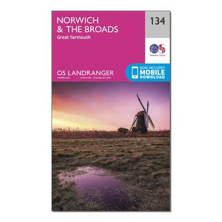 Landranger 134 Norwich & The Broads, Great Yarmouth Map With Digital Version