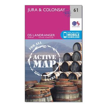 Orange Ordnance Survey Landranger Active 61 Jura & Colonsay Map With Digital Version