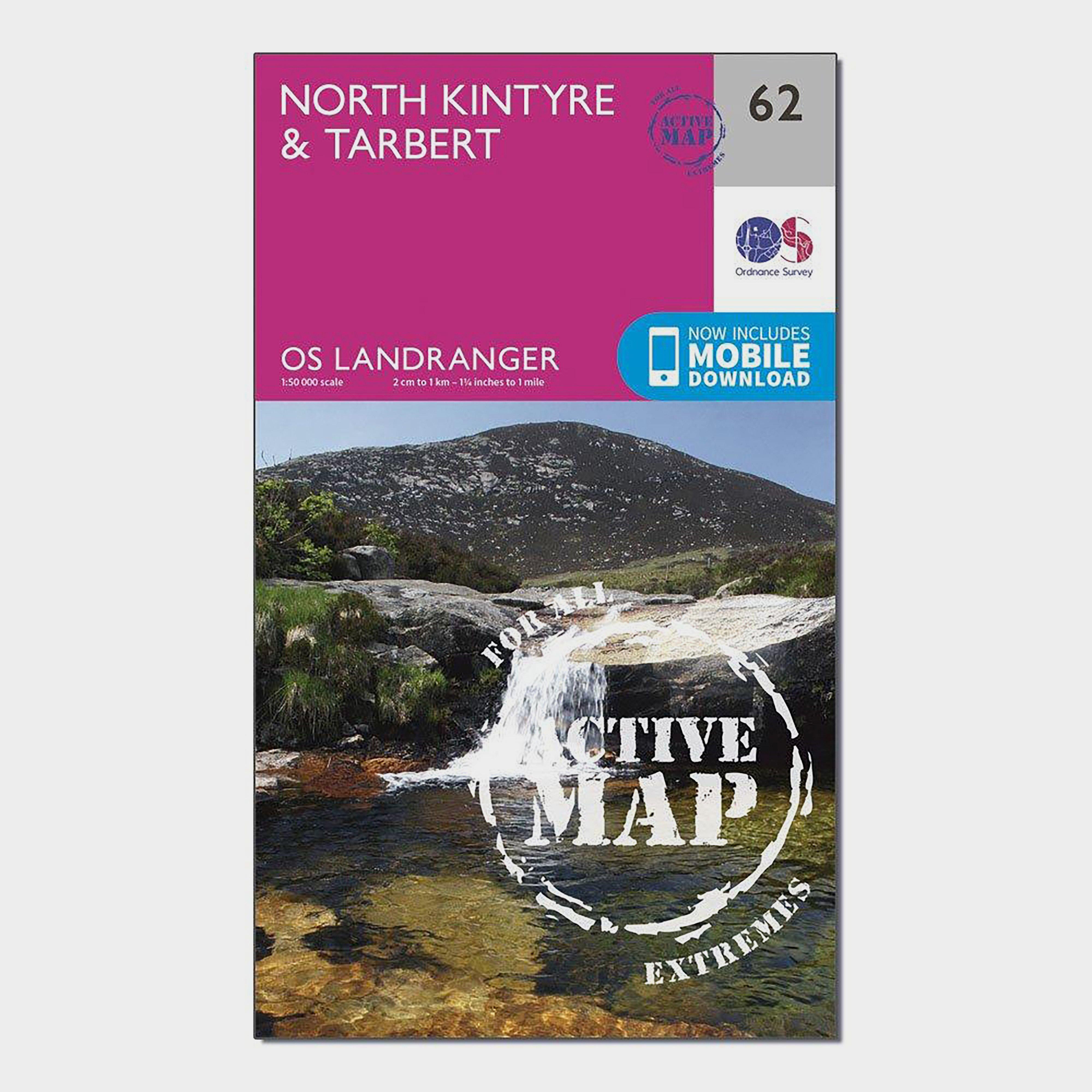 Ordnance Survey Ordnance Survey Landranger Active 62 North Kintyre & Tarbert Map With Digital Version - Orange, Orange