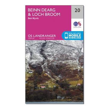 Orange Ordnance Survey Landranger 20 Beinn Dearg & Loch Broom, Ben Wyvis Map With Digital Version
