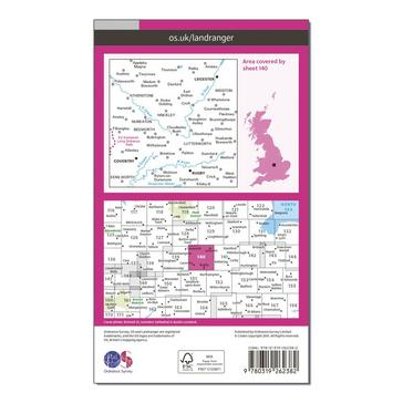 Orange Ordnance Survey Landranger 140 Leicester, Coventry & Rugby Map With Digital Version
