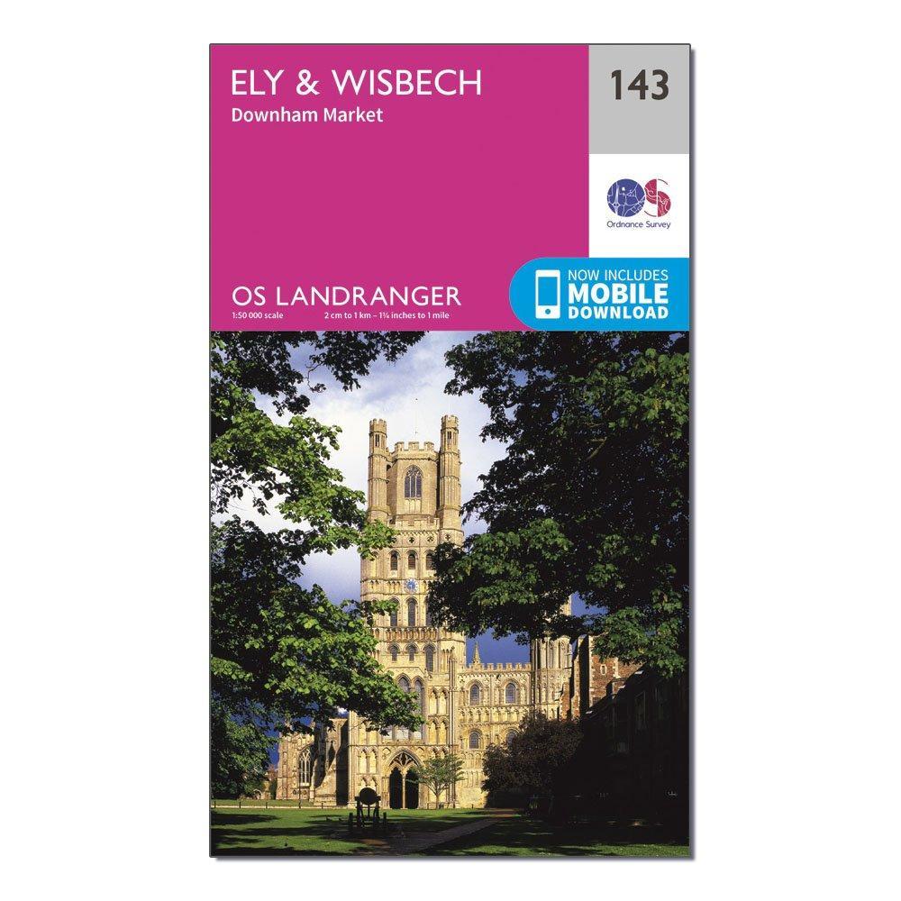 Image of Ordnance Survey Landranger 143 Ely & Wisbech, Downham Market Map With Digital Version - Pink/D, Pink/D