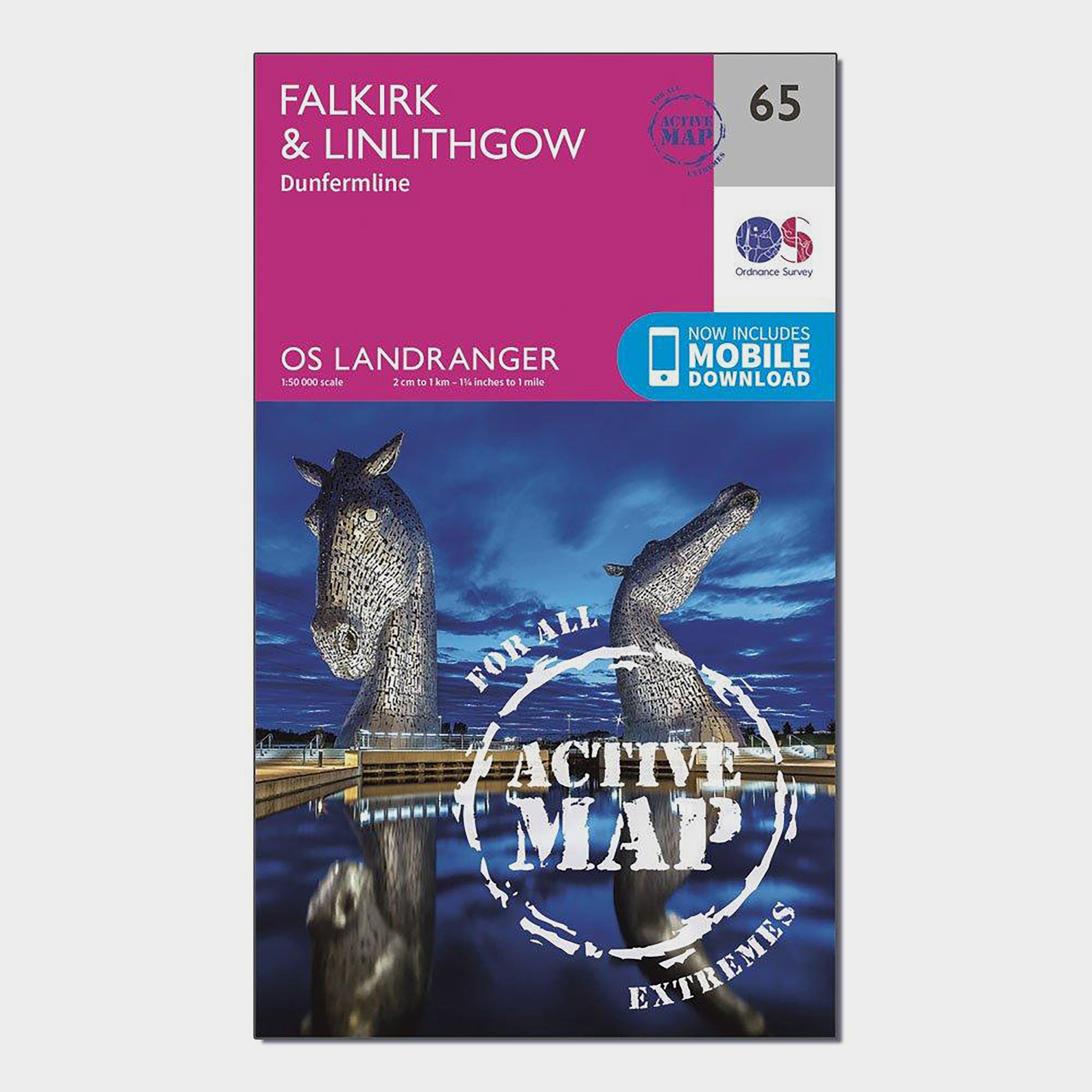 Ordnance Survey Ordnance Survey Landranger Active 65 Falkirk & Linlithgow, Dunfermline Map With Digital Version - Orange, Orange