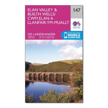 Orange Ordnance Survey Landranger 147 Elan Valley & Builth Wells Map With Digital Version