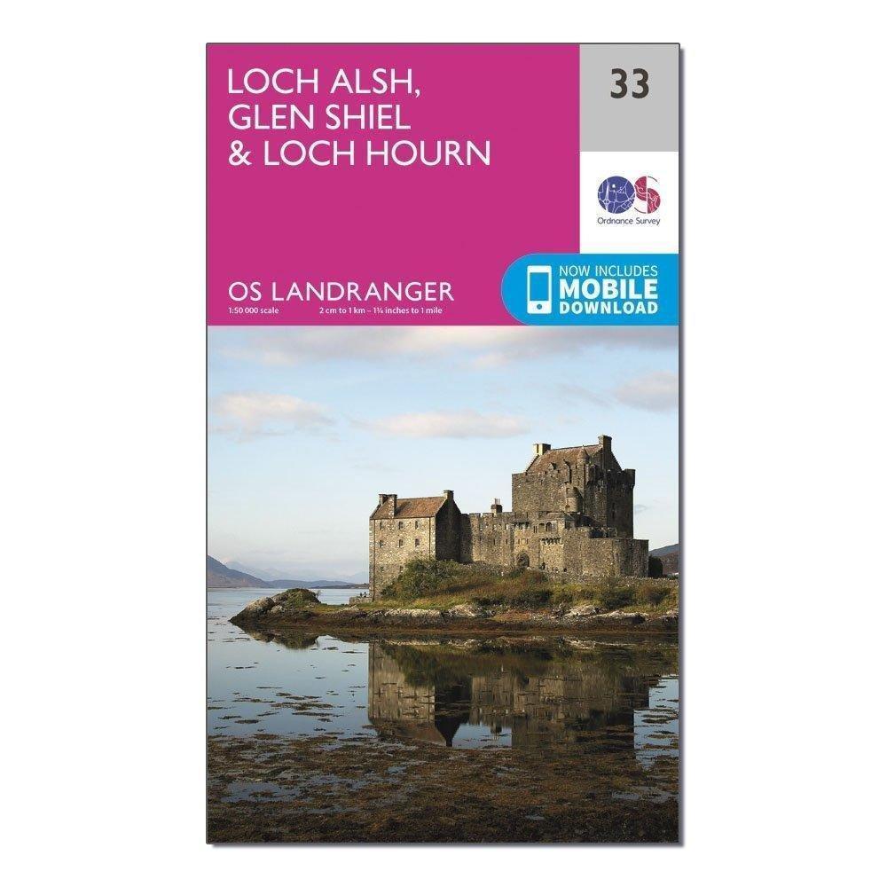 Image of Ordnance Survey Landranger 33 Loch Alsh, Glen Shiel & Loch Hourn Map With Digital Version - Pink/D, Pink/D