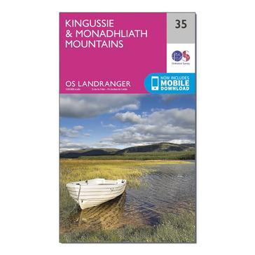 Orange Ordnance Survey Landranger 35 Kingussie & Monadhliath Mountains Map With Digital Version