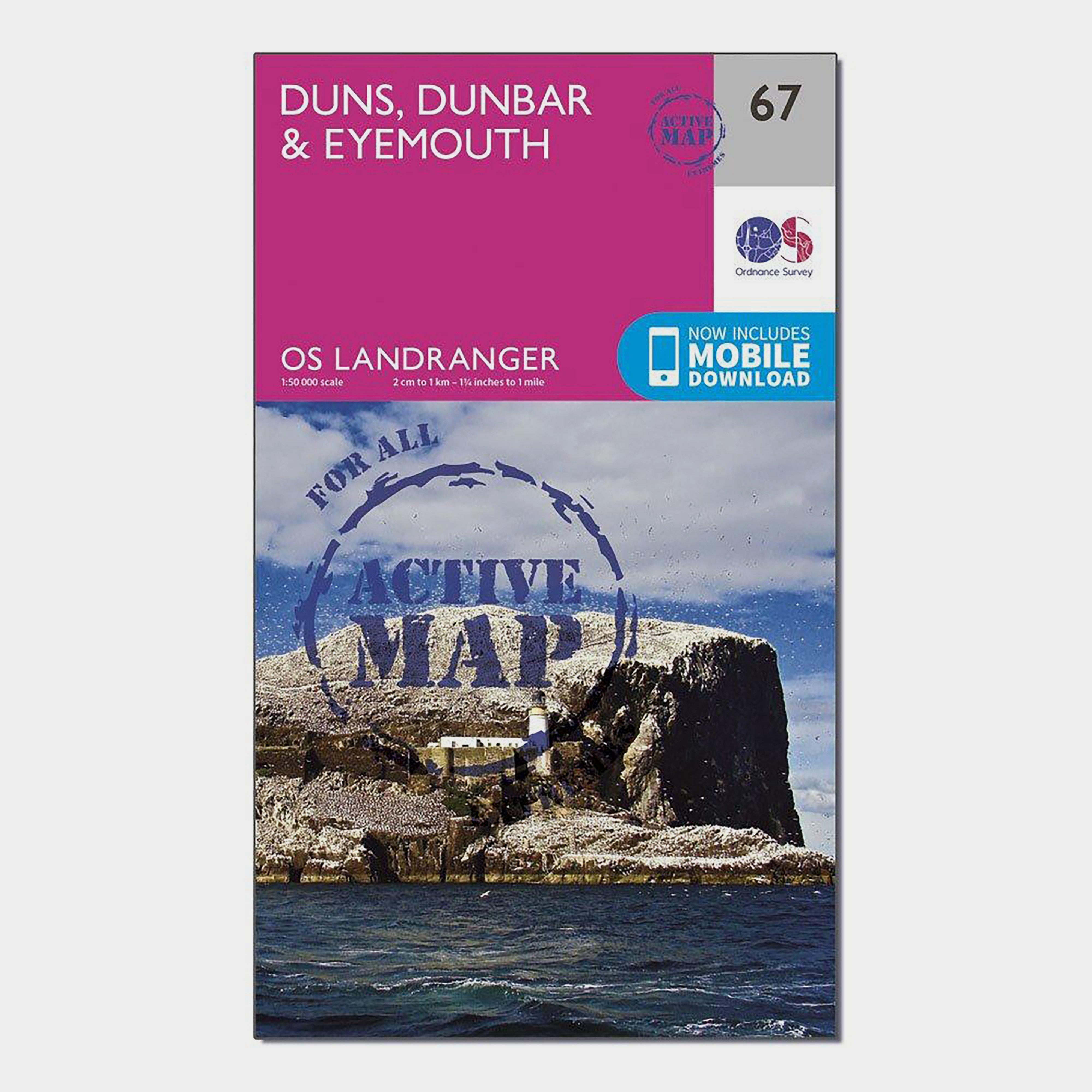 Ordnance Survey Ordnance Survey Landranger Active 67 Duns, Dunbar & Eyemouth Map With Digital Version - Orange, Orange