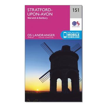 Orange Ordnance Survey Landranger 151 Stratford-upon-Avon, Warwick & Banbury Map With Digital Version