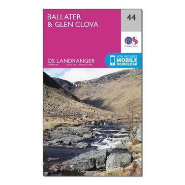 Orange Ordnance Survey Landranger 44 Ballater, Glen Clova Map With Digital Version