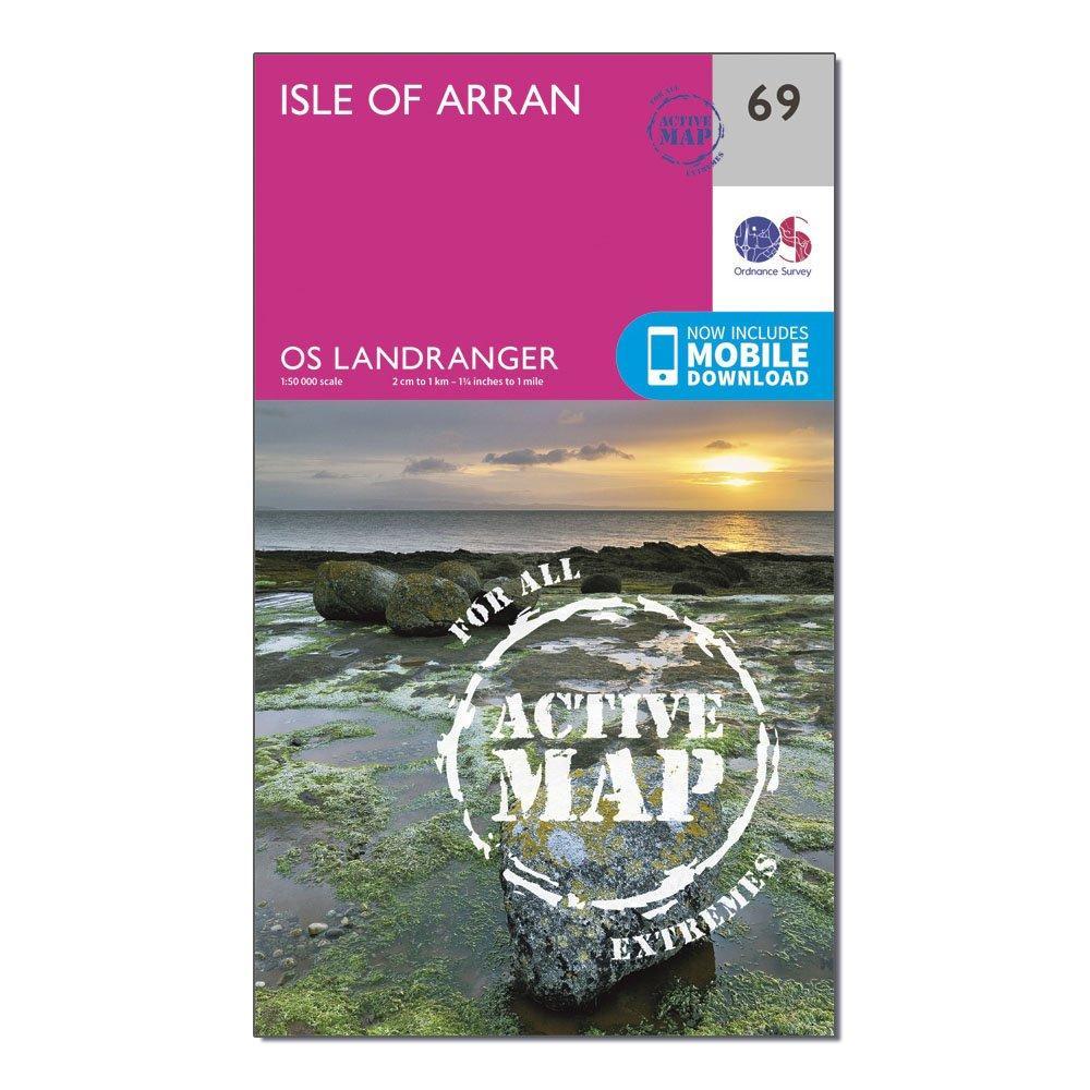 Ordnance Survey Ordnance Survey Landranger Active 69 Isle of Arran Map With Digital Version - Orange, Orange