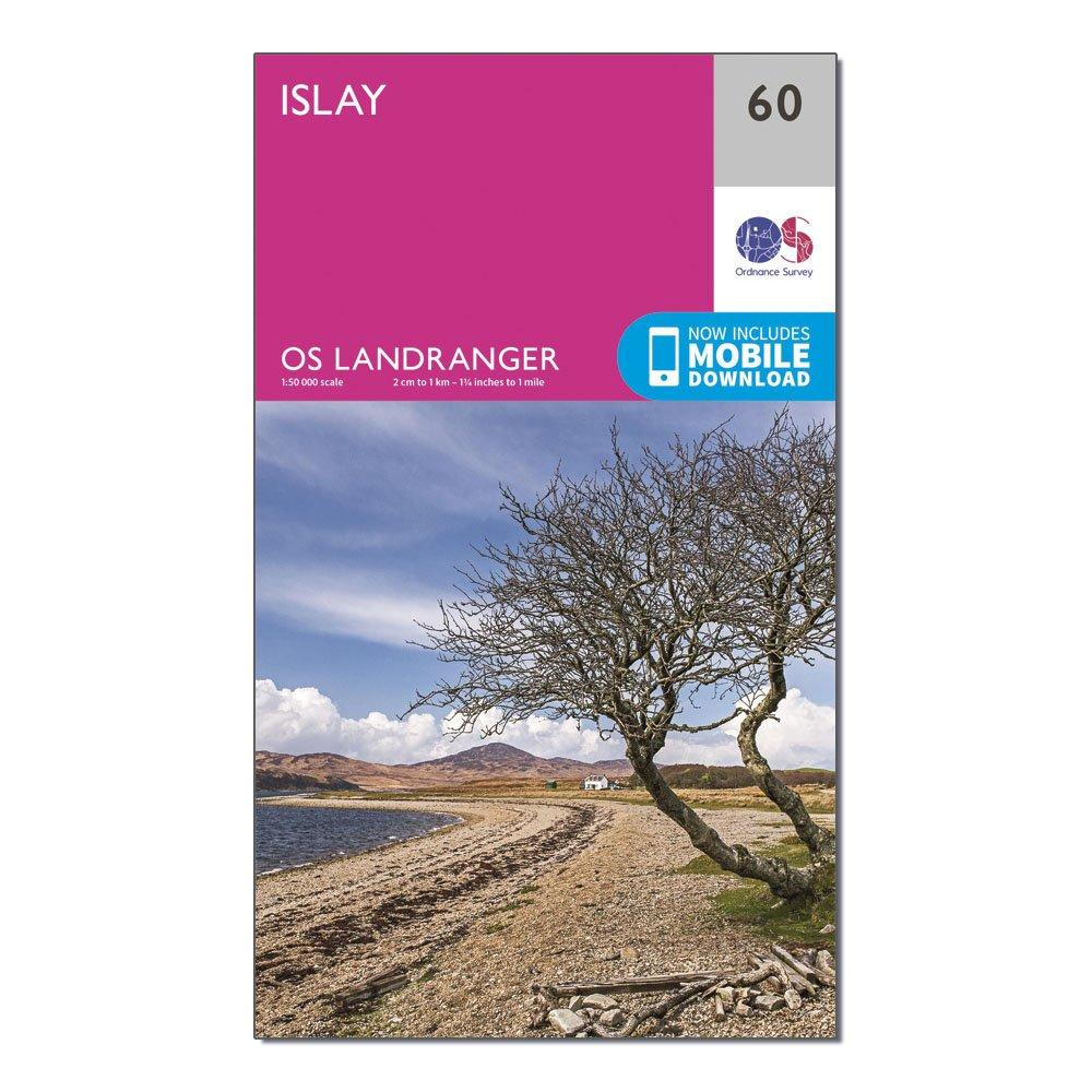 Image of Ordnance Survey Landranger 60 Islay Map With Digital Version - Pink/D, Pink/D