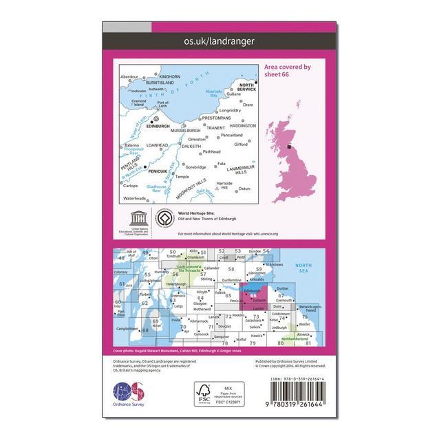 Ordnance Survey Landranger 66 Edinburgh Penicuik /& North Berwick Map With Digital Version