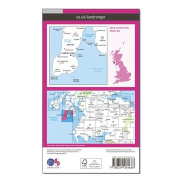 Orange Ordnance Survey Landranger 68 South Kintyre & Campbeltown Map With Digital Version
