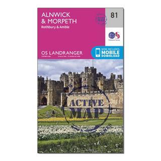 Landranger Active 81 Alnwick & Morpeth, Rothbury & Amble Map With Digital Version