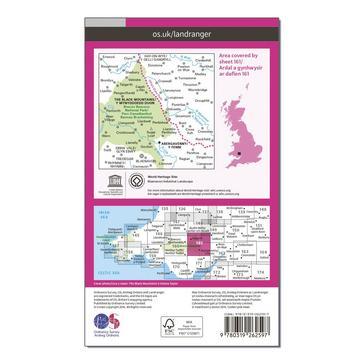 Orange Ordnance Survey Landranger 161 The Black Mountains Map With Digital Version