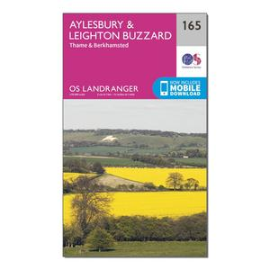 ORDNANCE SURVEY Landranger 165 Aylesbury, Leighton Buzzard, Thame & Berkhamstead Map With Digital Version