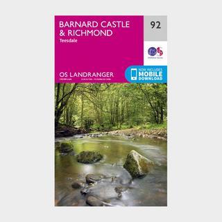 Landranger 92 Barnard Castle and surrounding area Map With Digital Version