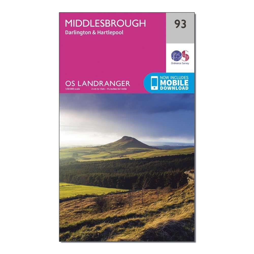 ORDNANCE SURVEY Landranger 93 Middlesbrough, Darlington & Hartlepool Map With Digital Version