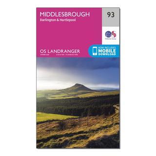 Landranger 93 Middlesbrough, Darlington & Hartlepool Map With Digital Version