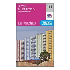 ORDNANCE SURVEY Landranger 166 Luton, Hertford, Hitchin & St Albans Map With Digital Version