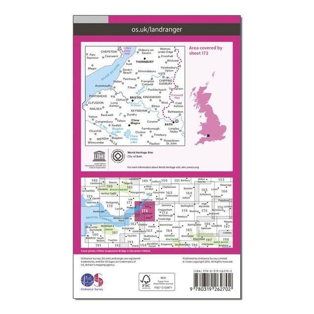 Thornbury /& Chew Magna Map With Digital Version Ordnance Survey Landranger 172 Bristol /& Bath