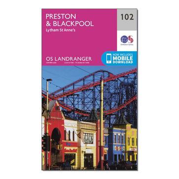 Orange Ordnance Survey Landranger 102 Preston & Blackpool, Lytham Map With Digital Version