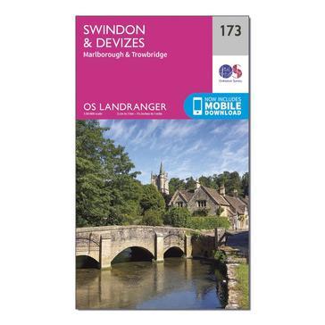 Orange Ordnance Survey Landranger 173 Swindon & Devizes, Marlborough & Trowbridge Map With Digital Version