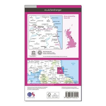 Orange Ordnance Survey Landranger Active 88 Newcastle upon Tyne, Durham & Sunderland Map With Digital Version