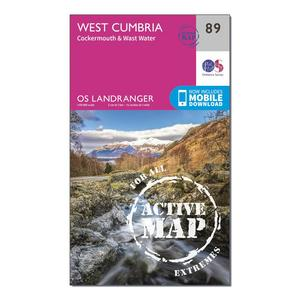 ORDNANCE SURVEY Landranger Active 89 West Cumbria, Cockermouth & Wast Water Map With Digital Version