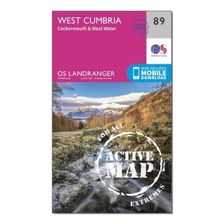 Landranger Active 89 West Cumbria, Cockermouth & Wast Water Map With Digital Version