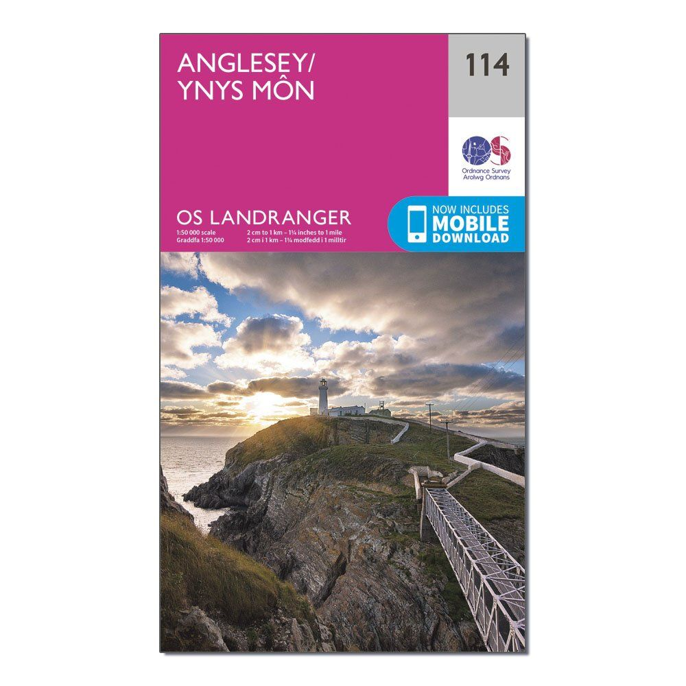 ORDNANCE SURVEY Landranger 114 Anglesey Map With Digital Version