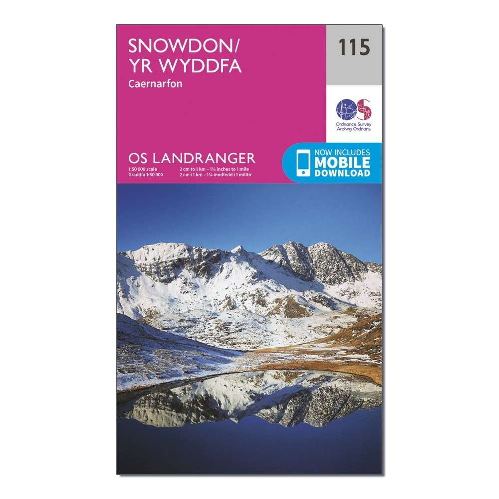 ORDNANCE SURVEY Landranger 115 Snowdon & Caernarfon Map With Digital Version