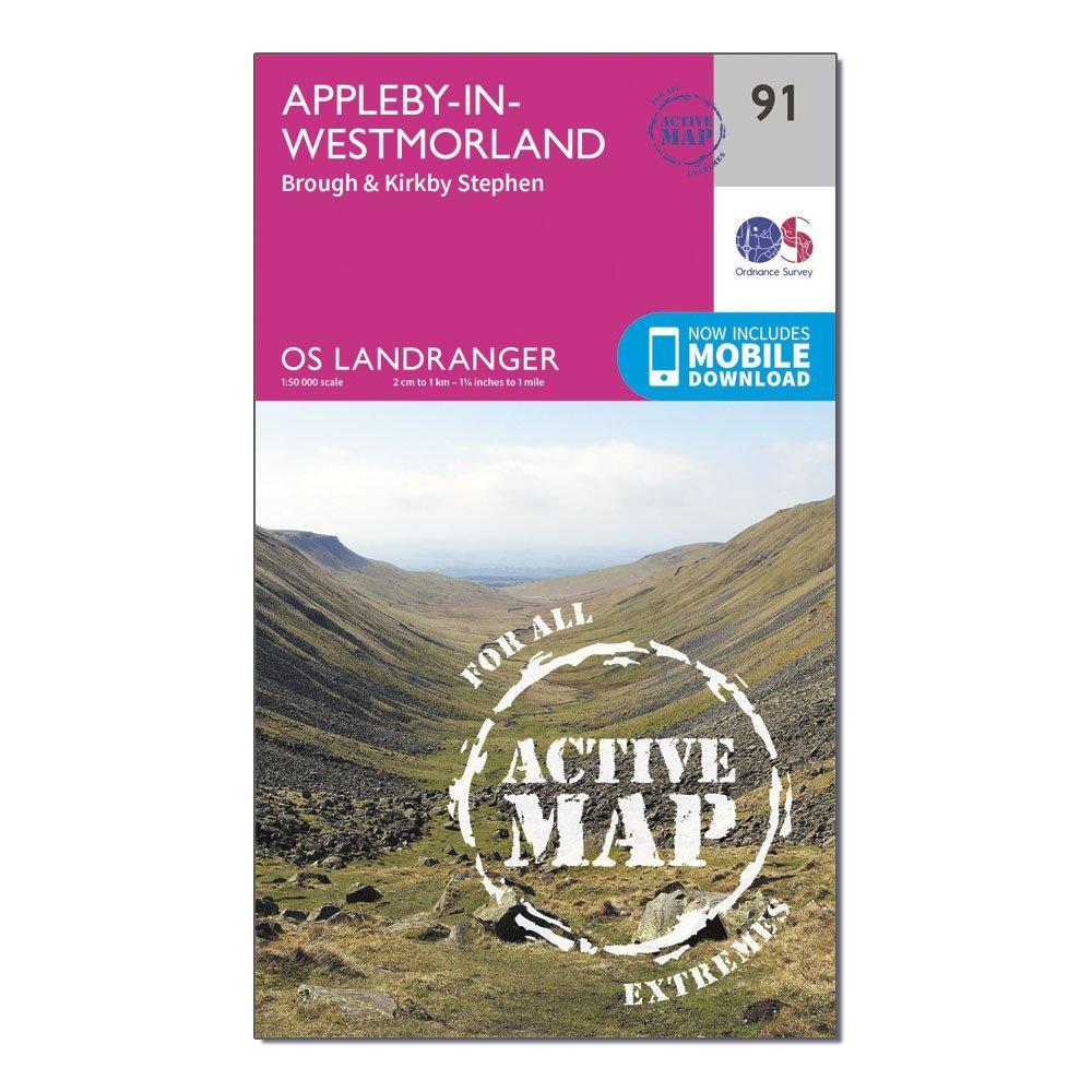 Ordnance Survey Ordnance Survey Landranger Active 91 Appleby-in-Westmorland Map With Digital Version - Orange, Orange