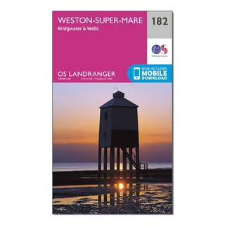 Landranger 182 Weston-super-Mare, Bridgwater & Wells Map With Digital Version